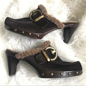 Stuart Weitzman brown suede and Sherpa clogs